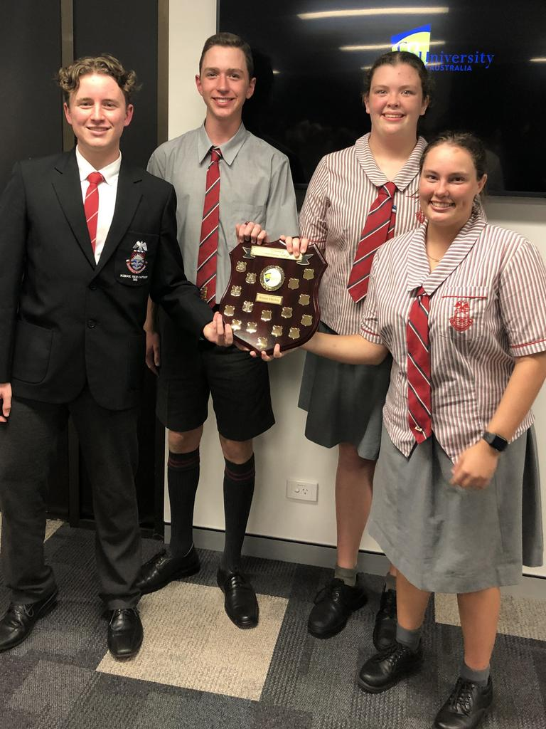 Whitsunday Anglican School in Mackay took out the CQUniversity School Business Challenge for the Central Queensland Region round. Pictured are (L to R) Flynn Bushell, Charlie Webb, Amaya McKinnon and Lezaan Du Plessis. Picture: CQUniversity