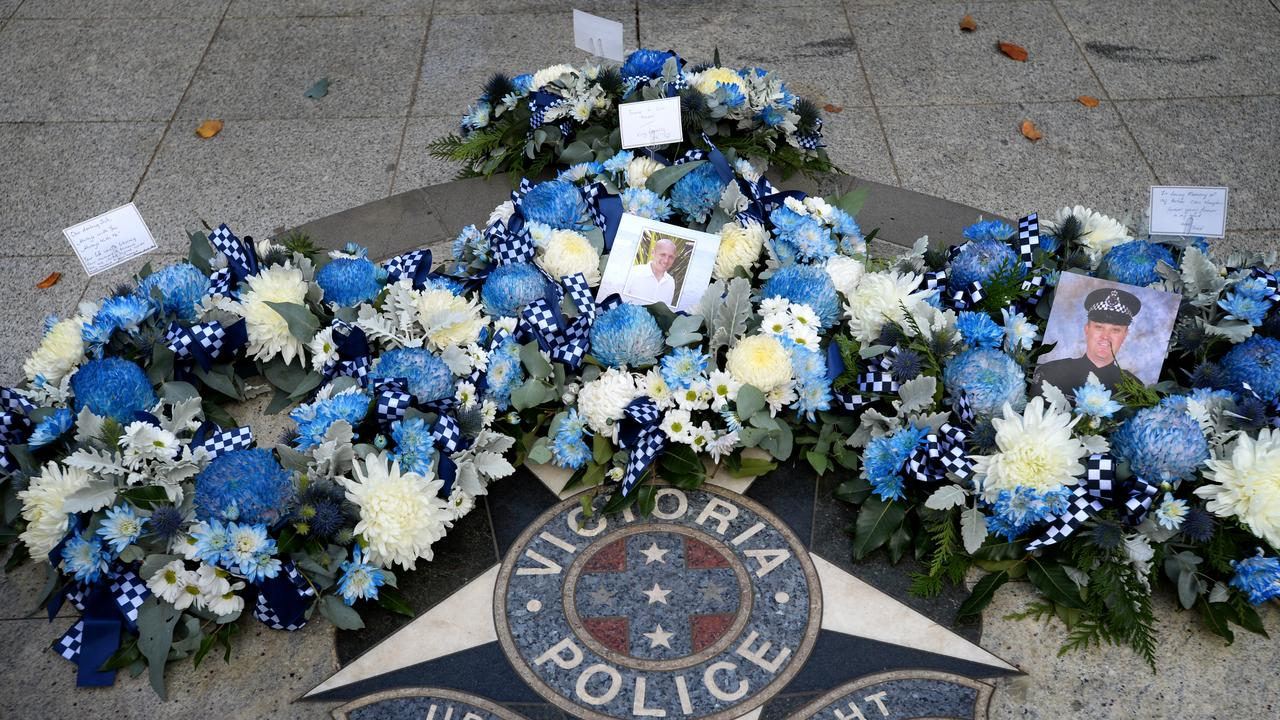 Wreaths laid at the Victoria Police Memorial on St Kilda Road last week to mark one year since the Eastern Freeway tragedy. Picture: NCA NewsWire/Andrew Henshaw