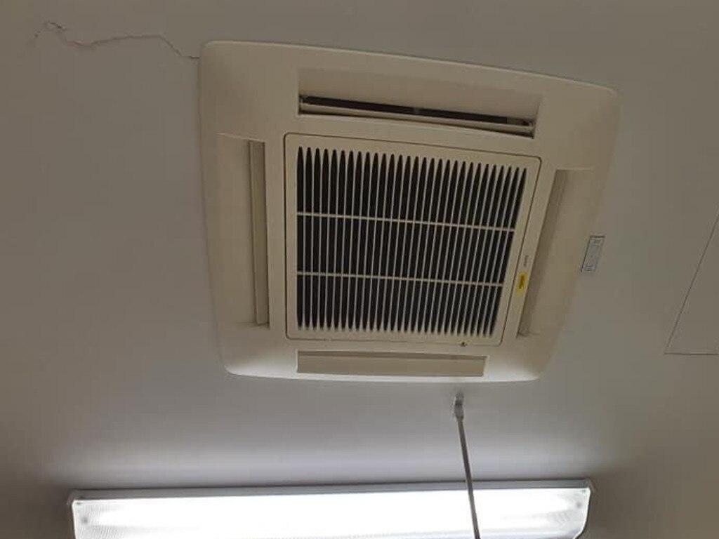 Cracks were seen around the air conditioner.