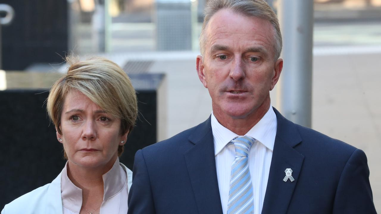 Andrew and Belinda Prestney leaving court after Richard Pusey was sentenced. Picture: NCA NewsWire/David Crosling