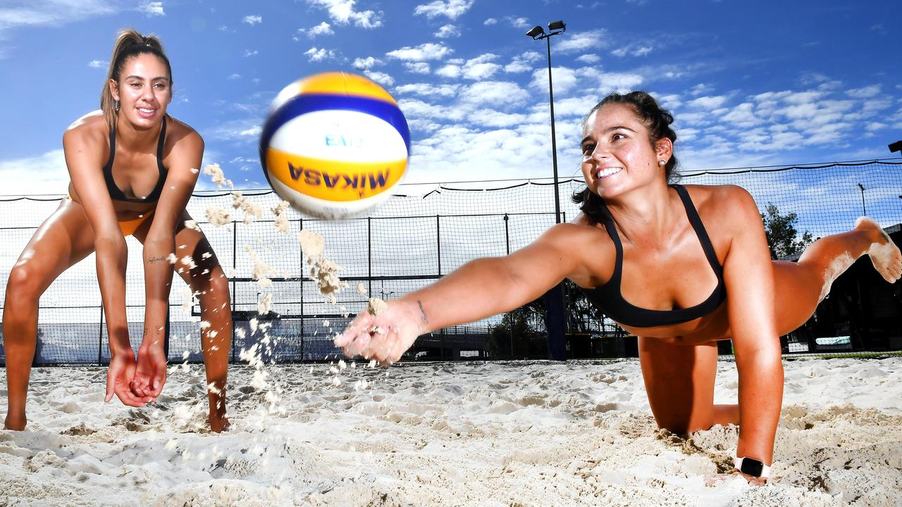 Taliqua Clancy and Mariafe Artacho del enjoy a game of beach volleyball. Picture, John Gass