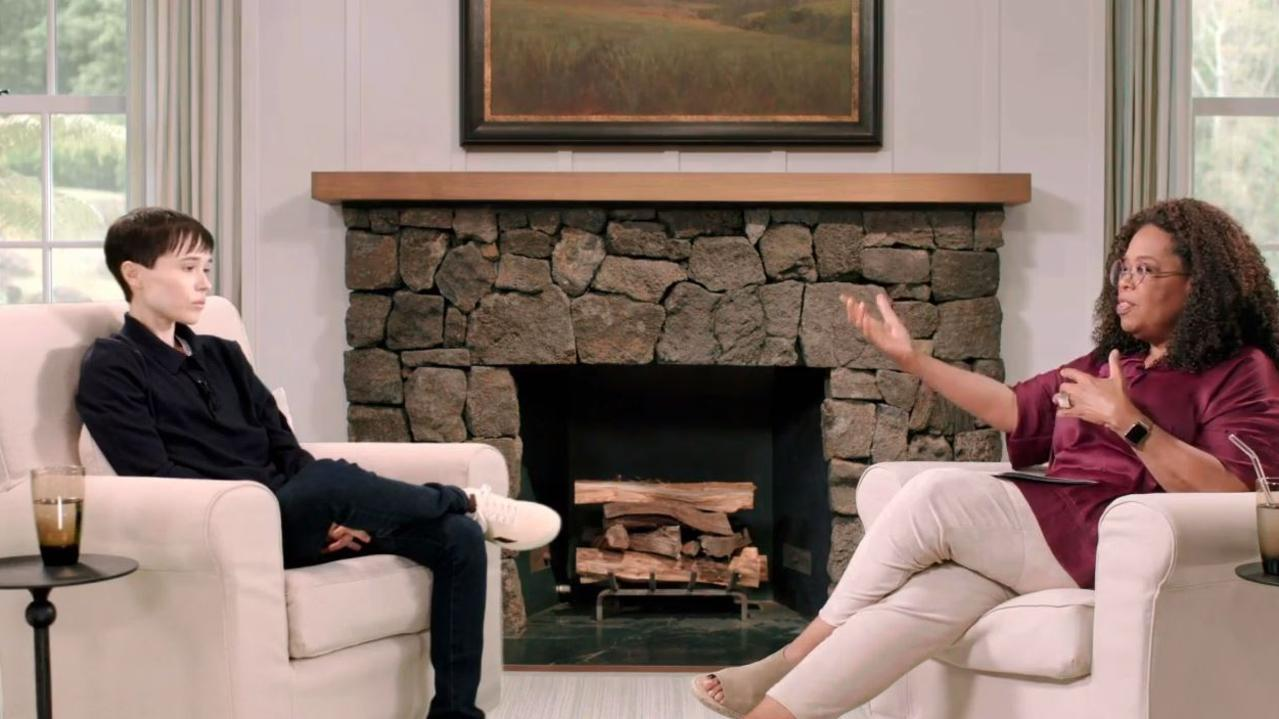 Elliot Page and Oprah Winfrey in a preview for their upcoming interview. Picture: Vanity Fair