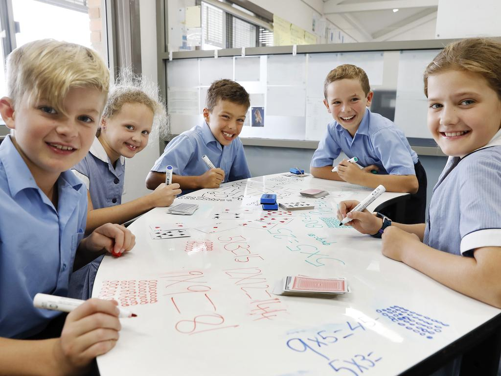 Students (L-R) Fletcher Holmewood, Maddy Ayliffe, Joshua Bignold, Zachary Burton and Molly Sinclair as St Cecilia's Catholic Primary School in NSW. Picture: Toby Zerna