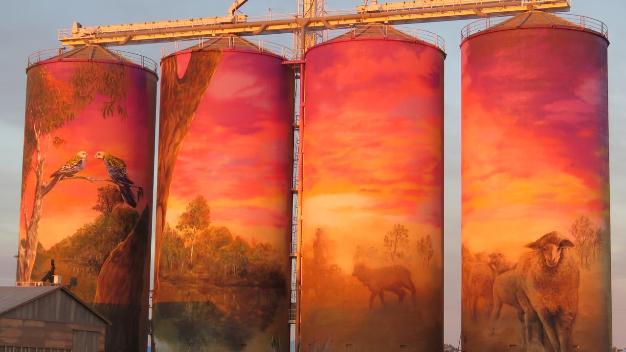 The Thallon silo art at sunrise, named The Watering Hole. PHOTO: Gary Petrie