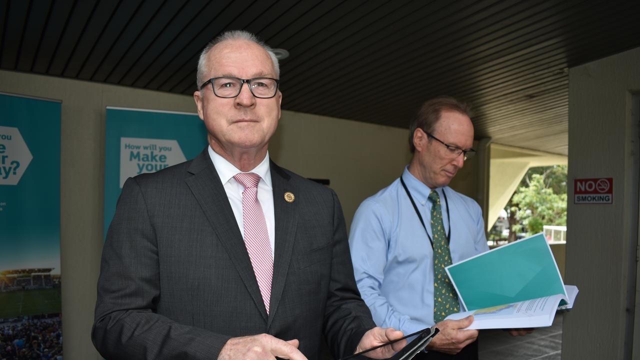 Sunshine Coast Council Mayor Mark Jamieson and councillor Rick Baberoski announced the start of community consultation for the Mass Transit Plan Options Analysis.
