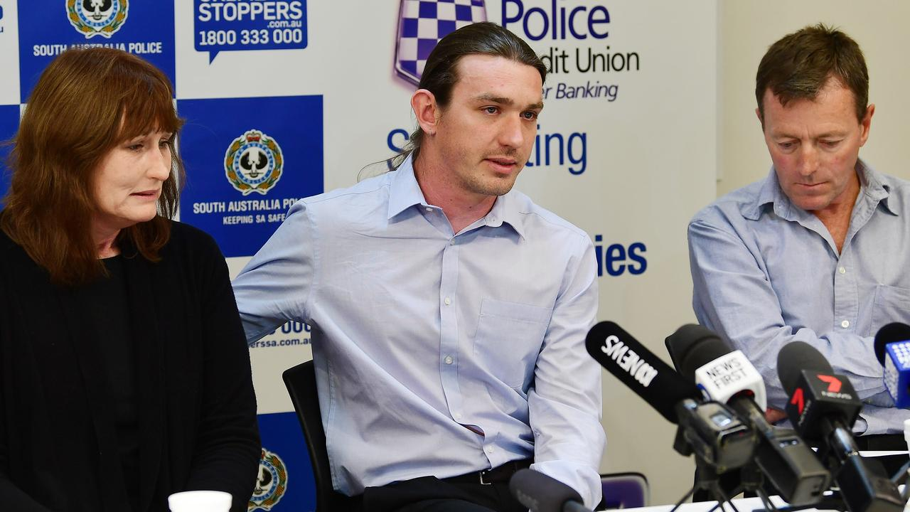 Michael Purse's mother, Donna Ipers, his brother Andrew Purse, and father Jeffery Purse during a police press conference in 2019. Picture: Mark Brake
