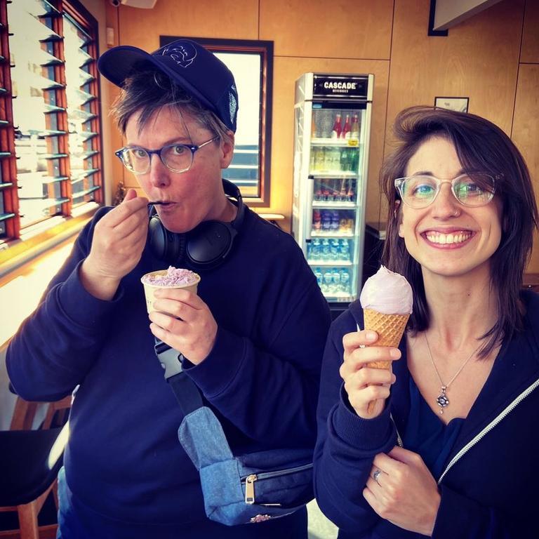 Emmy award-winning comedian Hannah Gadsby, born in Smithton, with her wife Jenney Shamash. Photo: Instagram