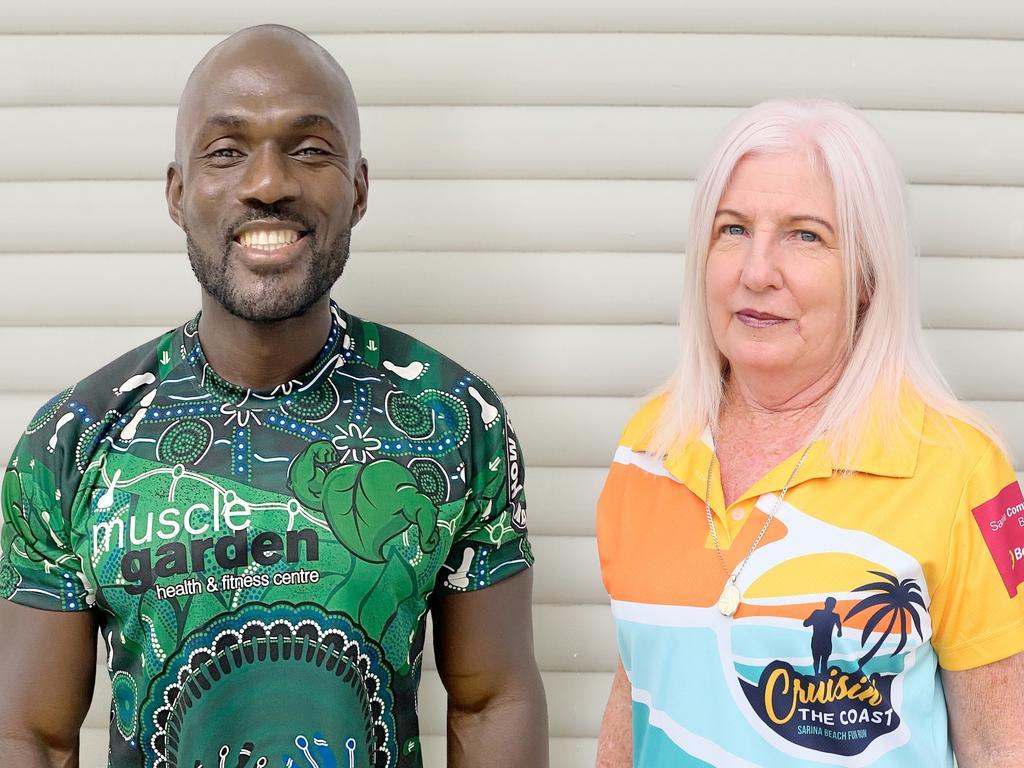 Cruisin' the Coast Fun Run 2021 ambassador Kay Nyenuh with Sarina local Brenda Windsor. Picture: Contributed