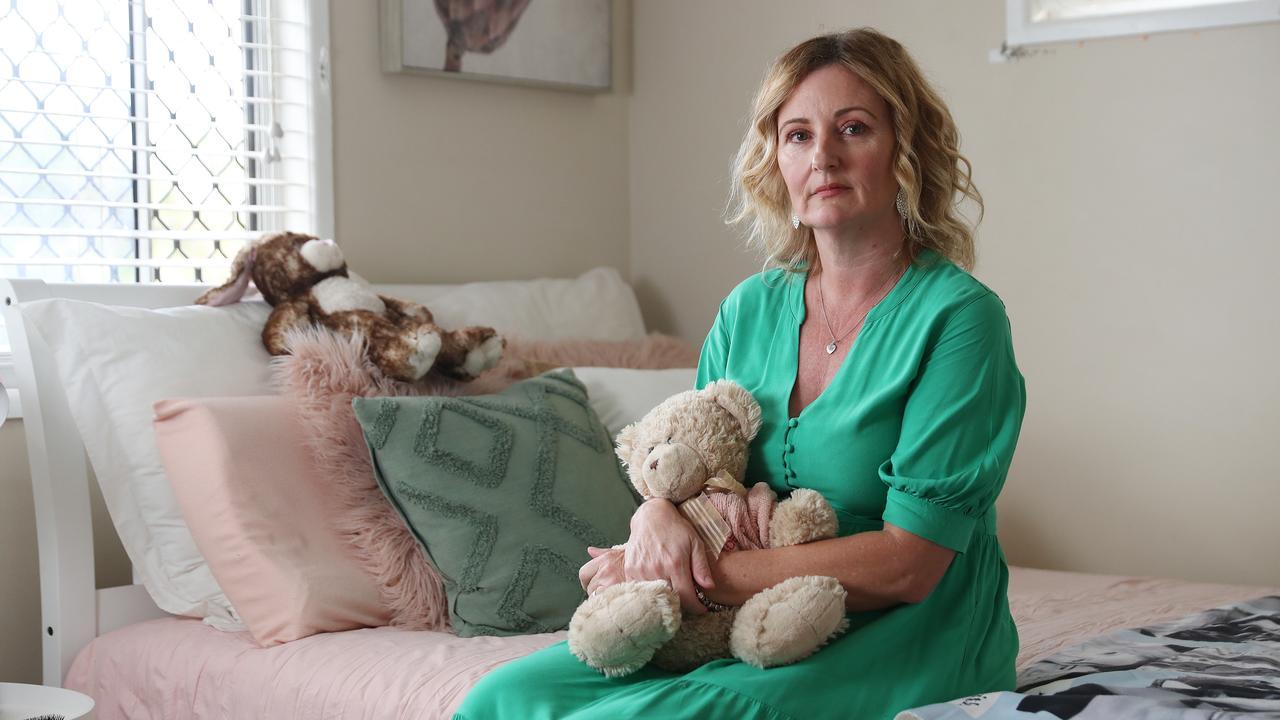 Bray Park mum Kellie Postle sits in Alyssa's bedroom. Picture: Tara Croser.