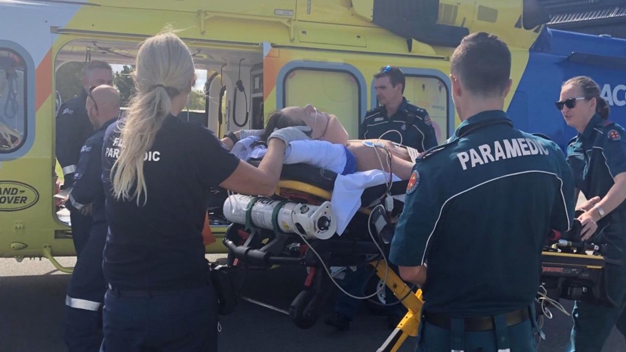 Reuben Fox, 14, is flown to Qld Children's Hospital.