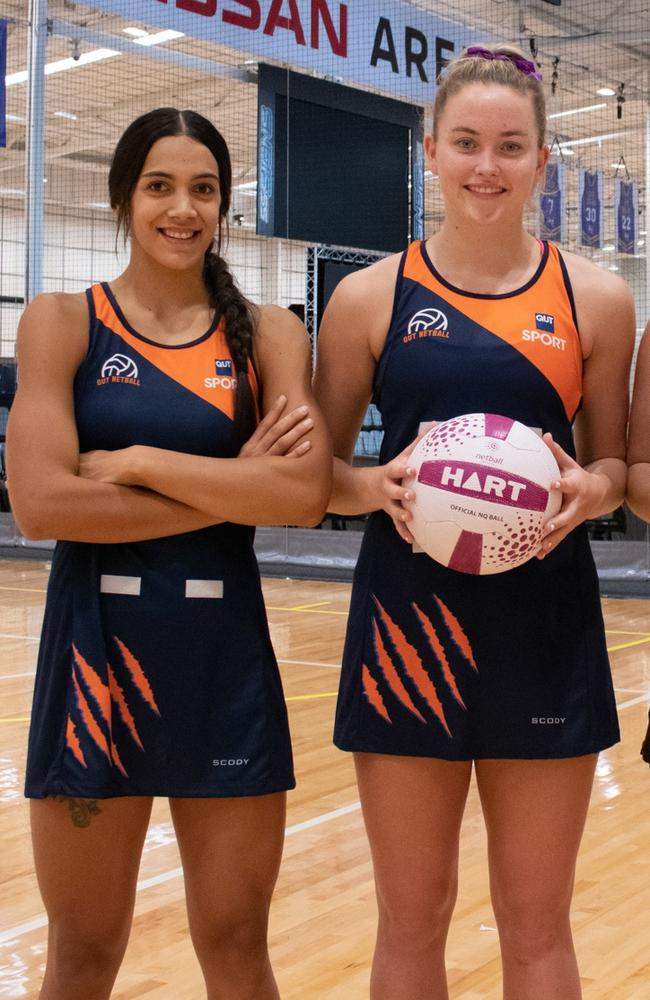 Firebird training partners Hulita Veve and Reilley Batcheldor will take to the court for QUT netball. Photo: Supplied Netball Qld