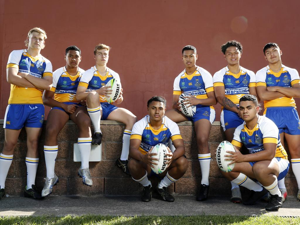 Patrician Brothers Blacktown players from left, Myles Martin, Suliasi Aho, Ethan Sanders, Judah Galuvao, Tana Papu, Siotame Hansen, Hanisi Afu and Wilson De Courcey, the NRL Schoolboy Cup is starting back up and Patrician Brothers Blacktown are defending champions. Picture: Jonathan Ng