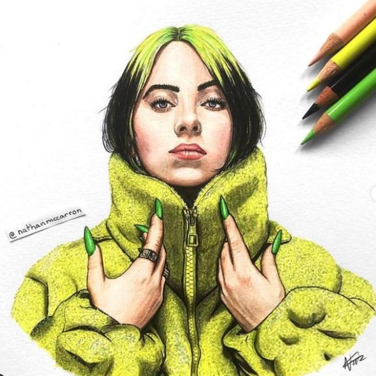 His piece on singer Billie Eilish. Picture: TikTok/nathanmccarron0