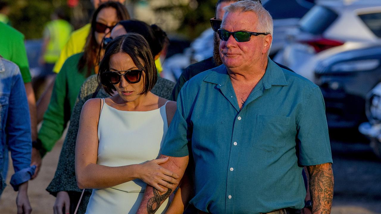 Kelly Wilkinson's sister Danielle Carroll with dad Reg Wilkinson attend a memorial for Kelly. Picture: Jerad Williams
