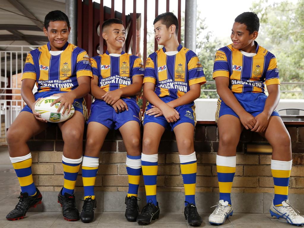 Year 7 players from left Alexander Pupualii, 12, Calvary Luai, 12, Tyrone Moeroa, 12, and Cornelius Pupualii, 12. Picture: Jonathan Ng