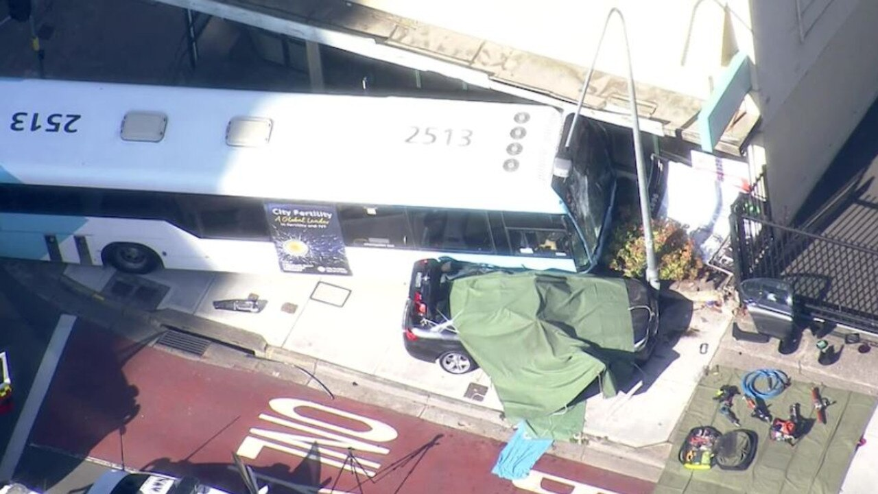 A bus and a car collided in Parramatta, killing a woman. Picture by ABC News.
