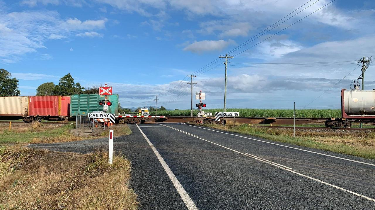 A driver was injured when a car and goods train collided at Rosella about 6.40am Friday. Photo: Heidi Petith