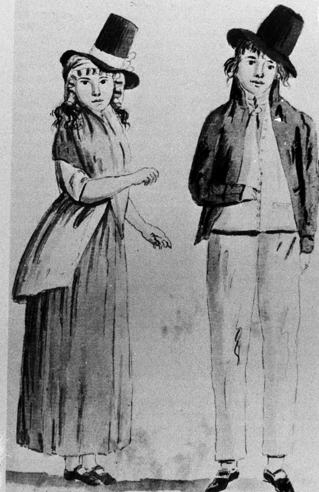 Art-ful dodgers ... a sketch of two convicts in early Sydney.