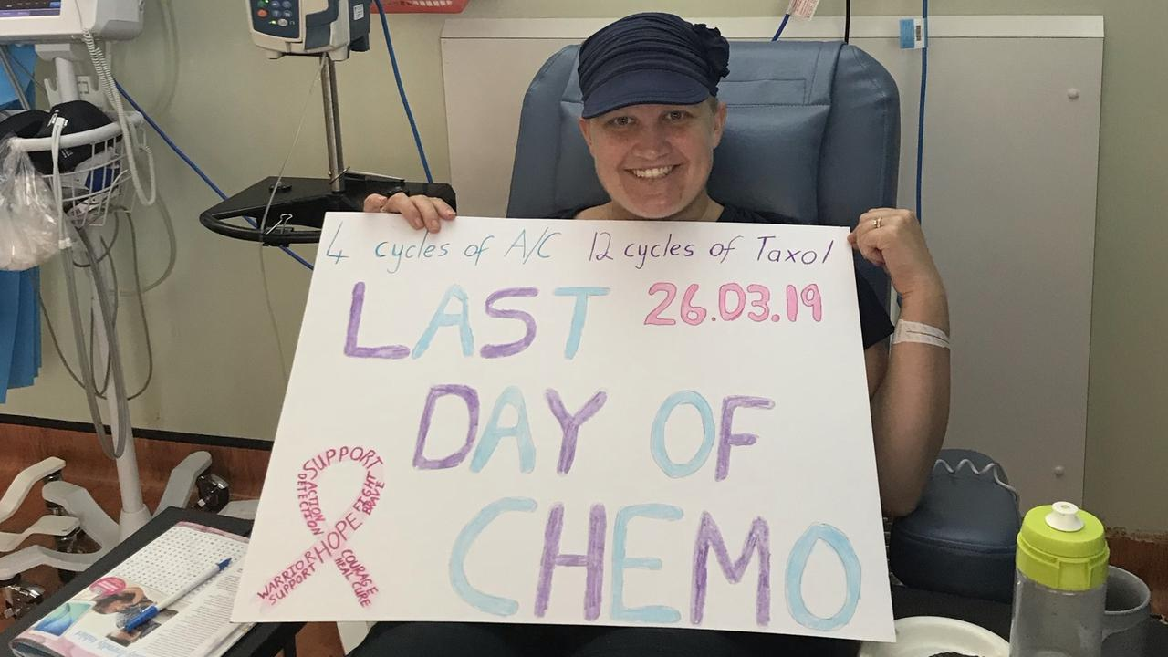 Tannum Sands mother Jess Smith celebrates finishing chemo. After battling breast cancer Mrs Smith has organised the Mother's Day Classic at Tannum Sands. Picture: contributed.
