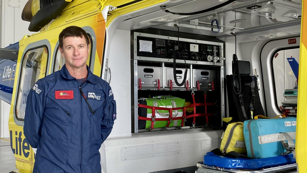 RACQ LifeFlight rescue helicopter aircraft officer Scott Reeman at the Sunshine Coast base.