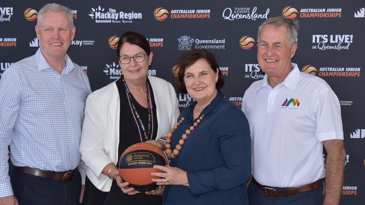 Basketball Australia board member John Carey, interim Basketball Australia chief executive Carolyn Campbell, Mackay MP Julieanne Gilbert and Mackay Regional Council Mayor Greg Williamson.