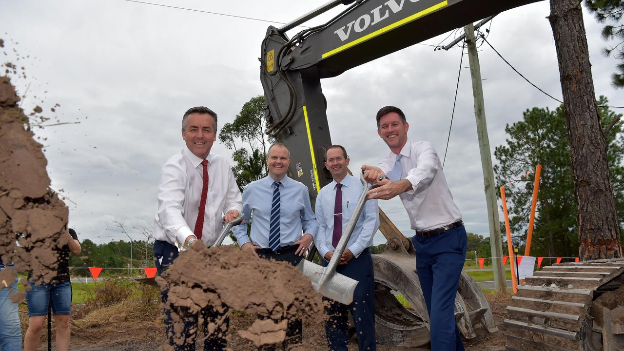 Federal Member Fisher Andrew Wallace and Main Roads Minister Mark Bailey in happier times celebrating the first so turned on the Caloundra to Sunshine Motorway upgrade.