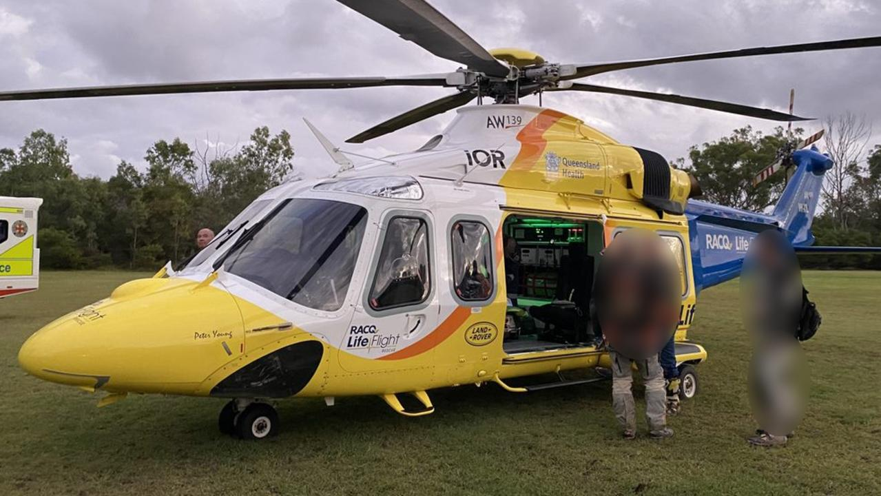 RACQ LifeFlight Rescue crews airlifted a male patient to hospital after he crashed his motorbike at Rainbow Beach. Picture: LifeFlight