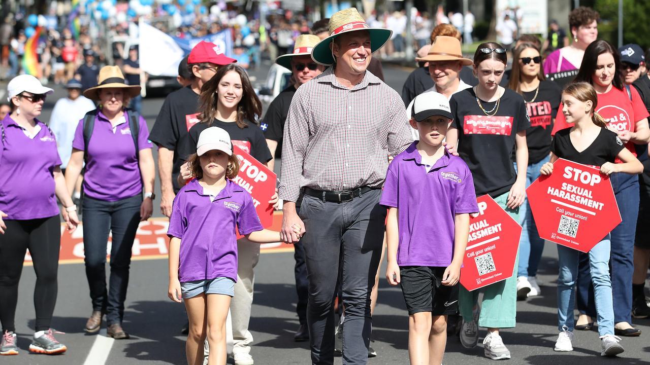 Deputy Premier Steven Miles attends the Labor day march in Brisbane. Picture: NCA NewsWire / Jono Searle
