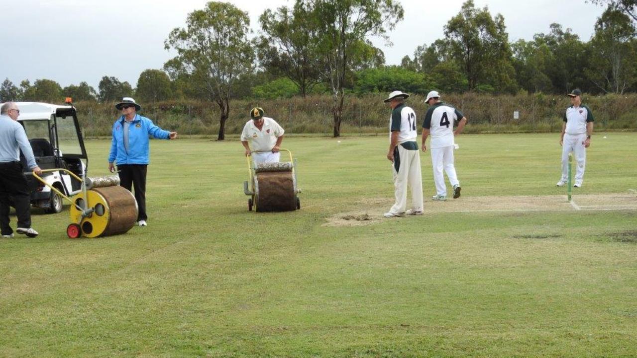 The super sopper was needed in the latest veterans cricket match between Lockyer/Ipswich and Redlands/Logan.