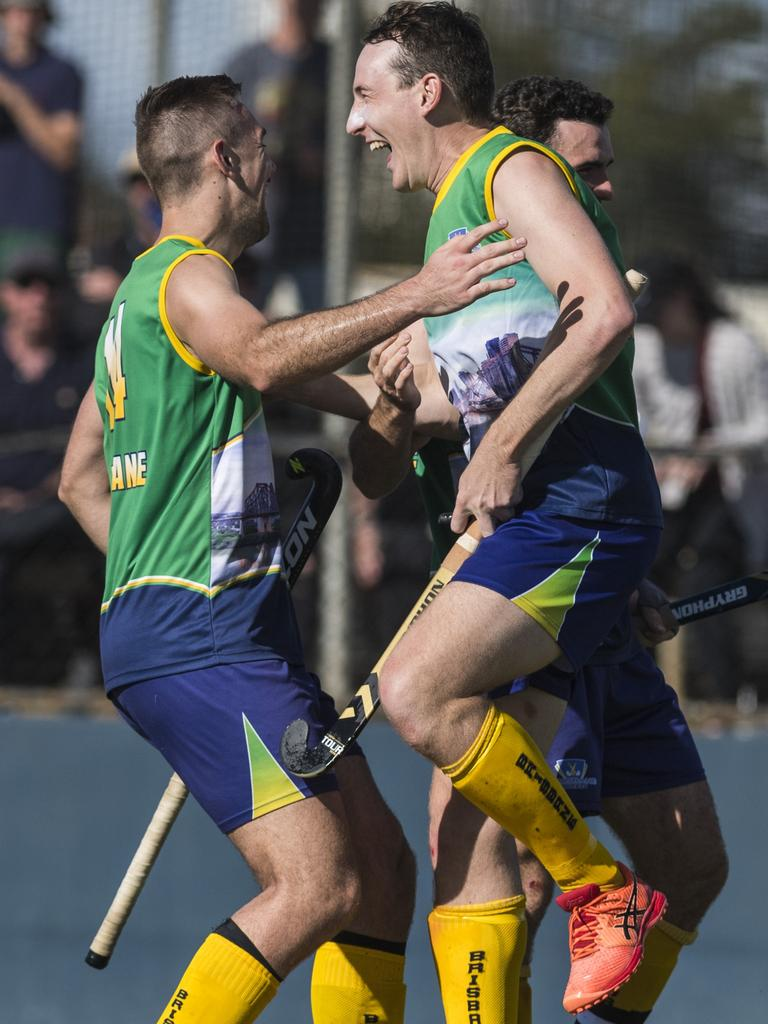 Brisbane celebrate the win against Toowoomba 1 in Hockey Queensland Championships men's final at Clyde Park, Monday, May 3, 2021. Picture: Kevin Farmer