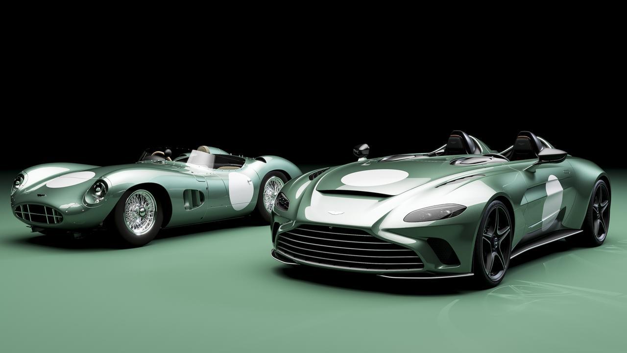 2021 Aston Martin V12 Speedster DBR1 (right) and the original 1959 racer (left).