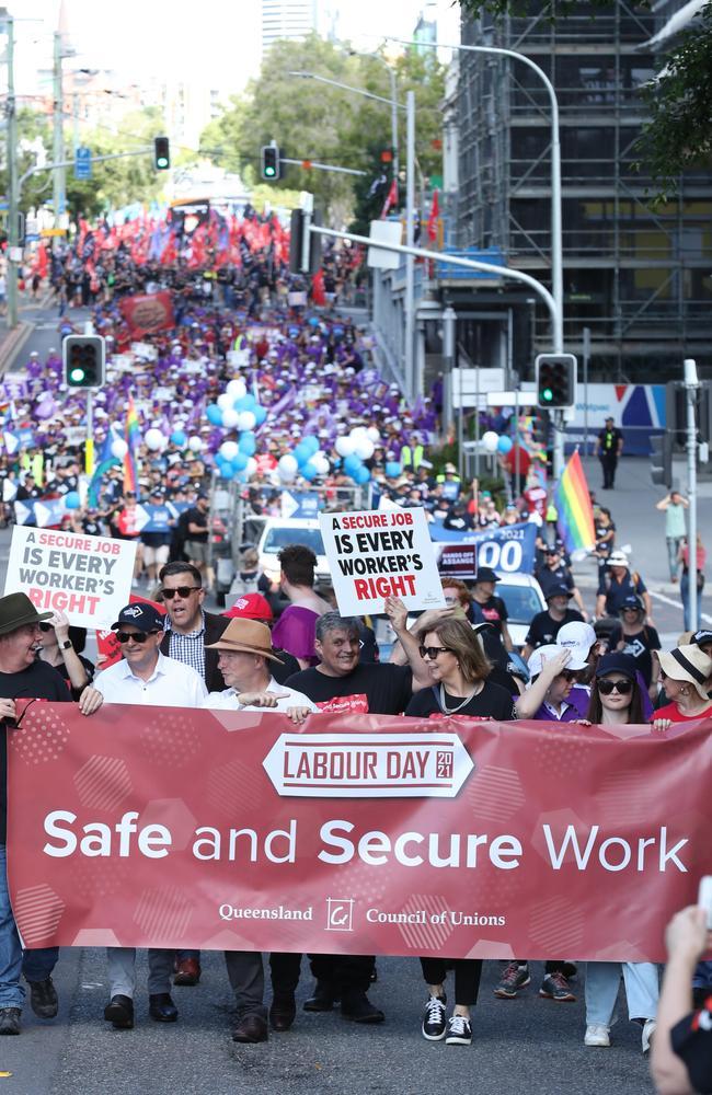 Labour Day march, Brisbane. Picture: Liam Kidston