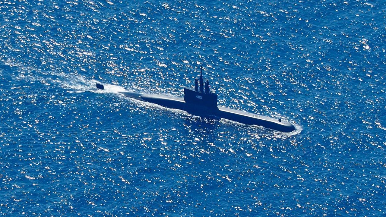 Indonesian Navy submarine KRI Alugoro searches for KRI Nanggala on April 22. Picture: Eric IrengEPA