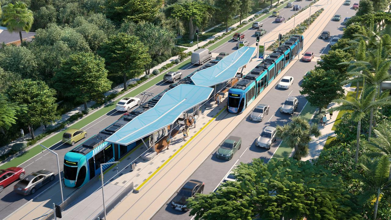 An artist's impression of light rail transit, which is one of the options presented in Sunshine Coast Council's Draft Options Analysis for a mass transit plan.