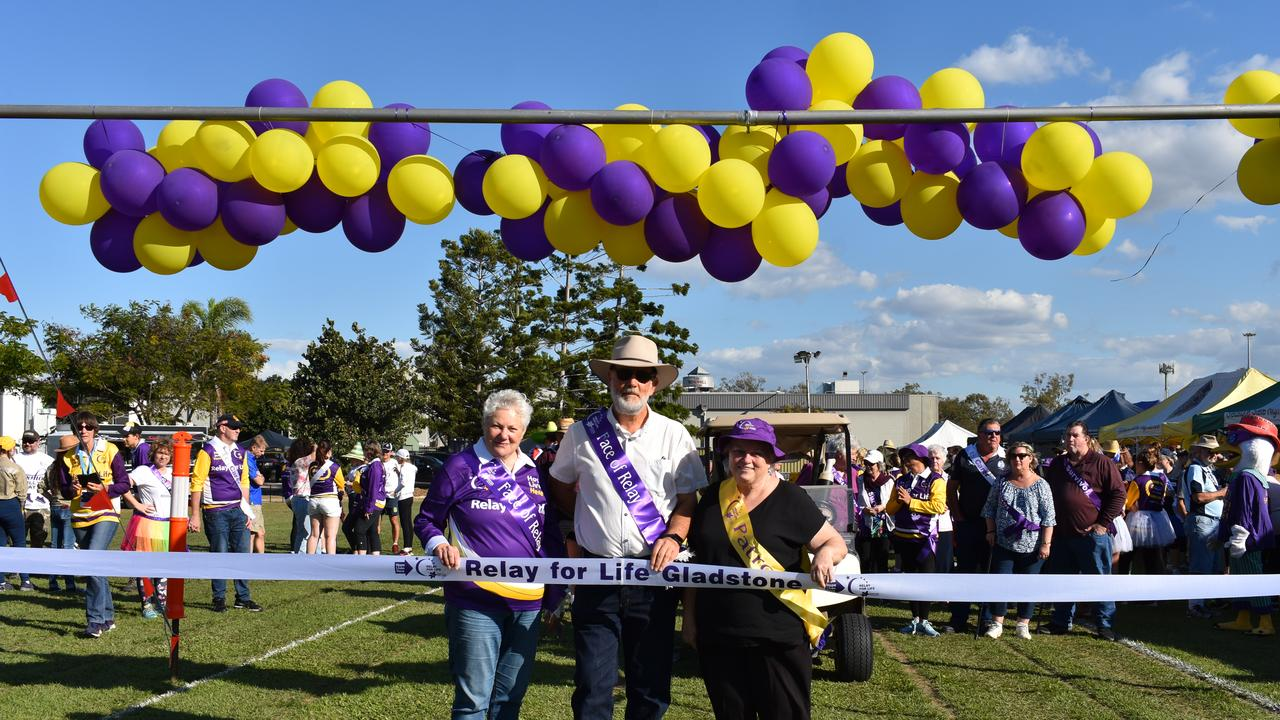 Faces of the Gladstone Relay for Life 2019 Helen Mann and Neil Golding with patron Liz Cunningham