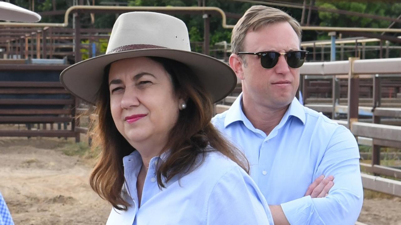 Premier Annastacia Palaszczuk and Steven Miles in Longreach. Picture: Darren England/ AAP