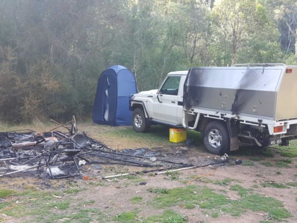 Their campsite burnt out off the Dry River Creek Track, north of Billabong. Picture: ABC