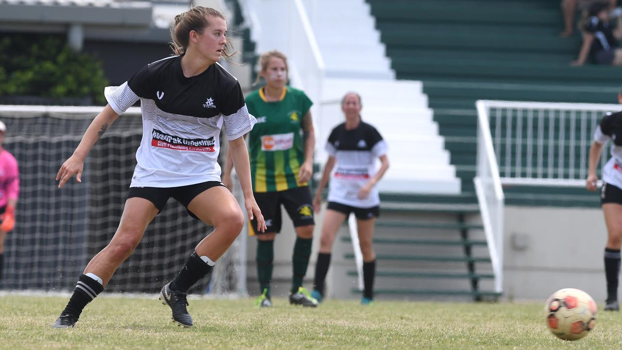 Kallie Peurifoy, pictured in action for Central in the CQ Premier League women's competition, starred in FQ Central's big win over Wide Bay at the weekend.