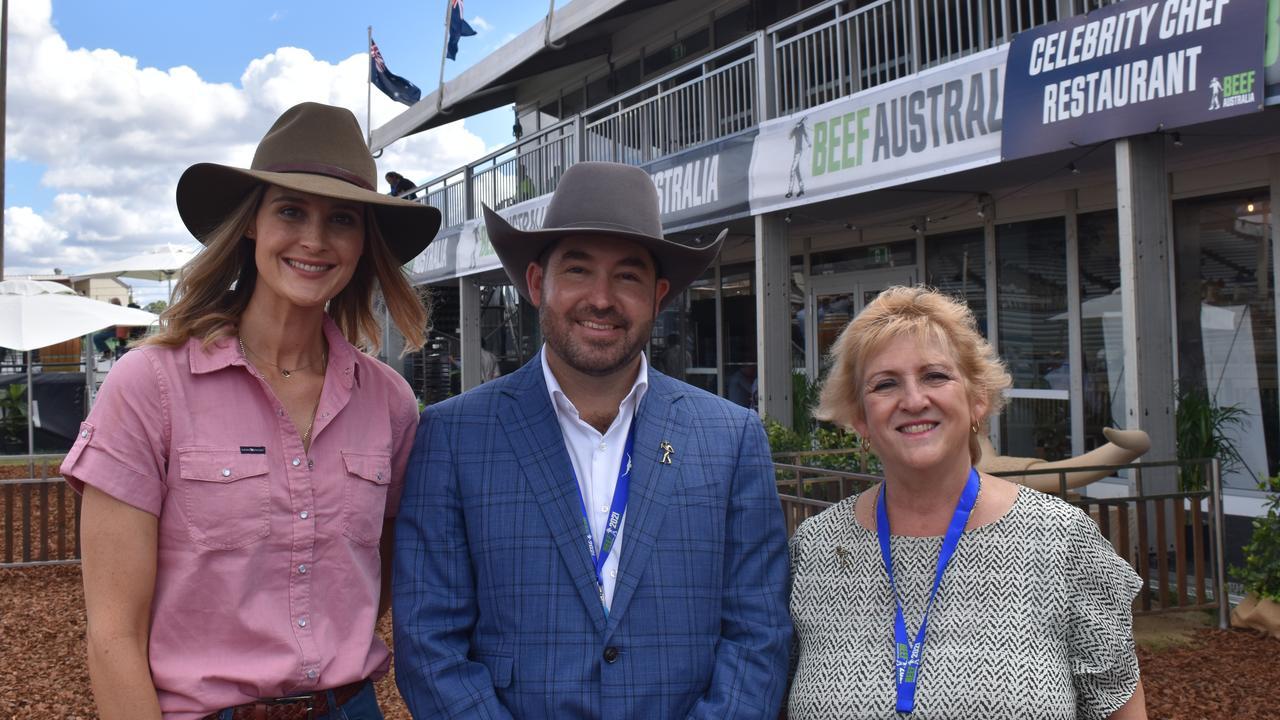 Kimberley Busteed, Beef Australia Board Chairman Bryce Camm and Capricornia MP Michelle Landry