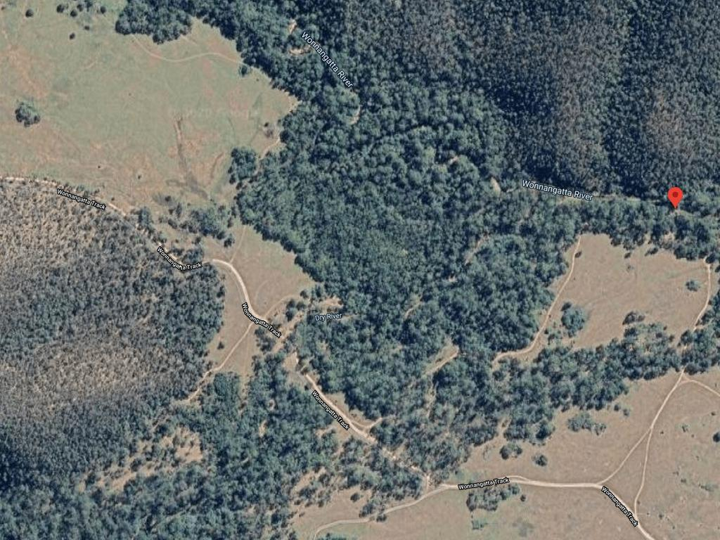 An aerial view of where Mr Hill and Ms Clay were last believed to be camping, at Wonnangatta River near the Wonnangatta camping ground. Picture: Supplied