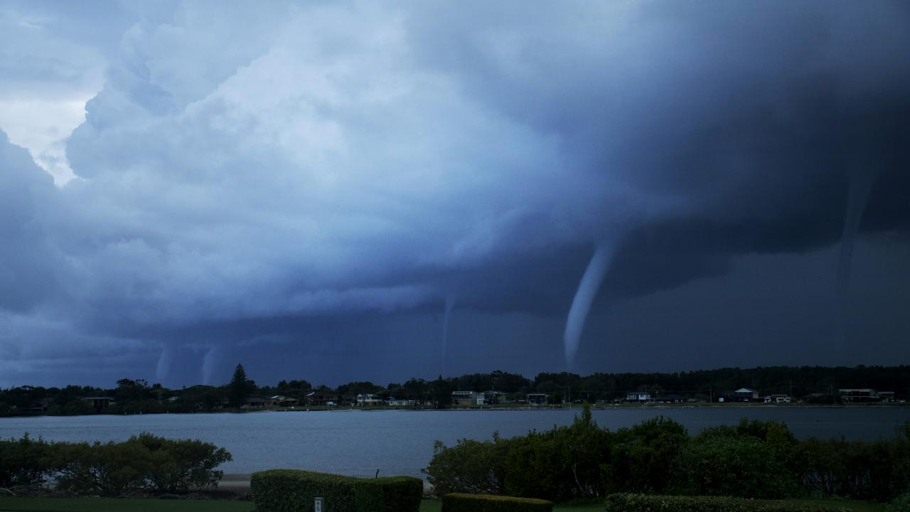 Five waterspouts seen at Harrington, NSW on Tuesday afternoon. Picture: Kirra Moffitt