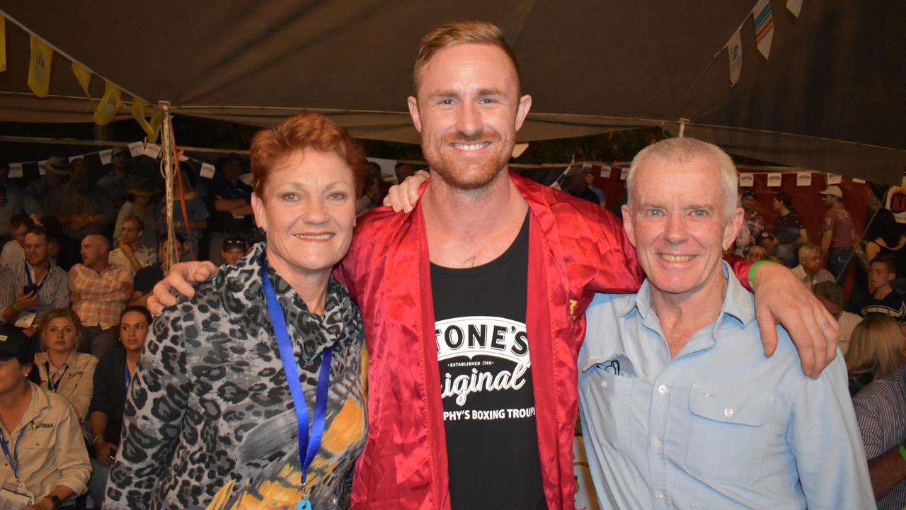 One Nation Leader Pauline Hansen, Rocky's Torin O'Brien and Senator Malcolm Roberts