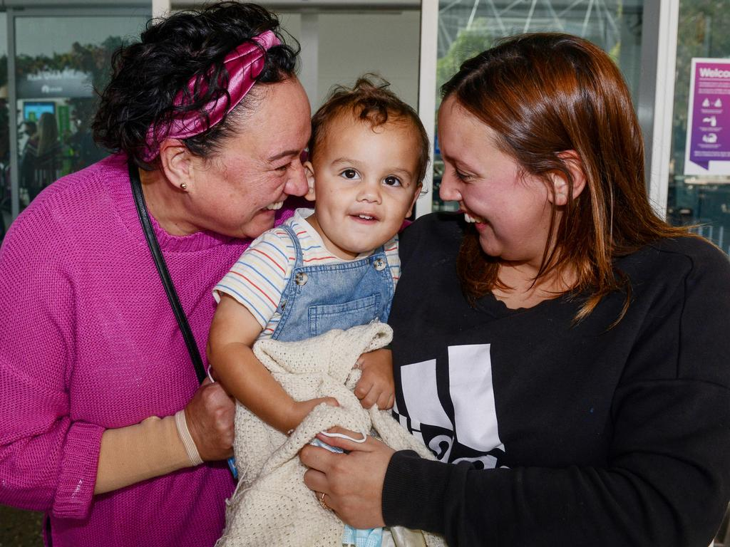 The trio were reunited after Milly and George arrived on the first direct flight from New Zealand to Adelaide as part of the trans-Tasman bubble. Picture: NCA NewsWire / Brenton Edwards