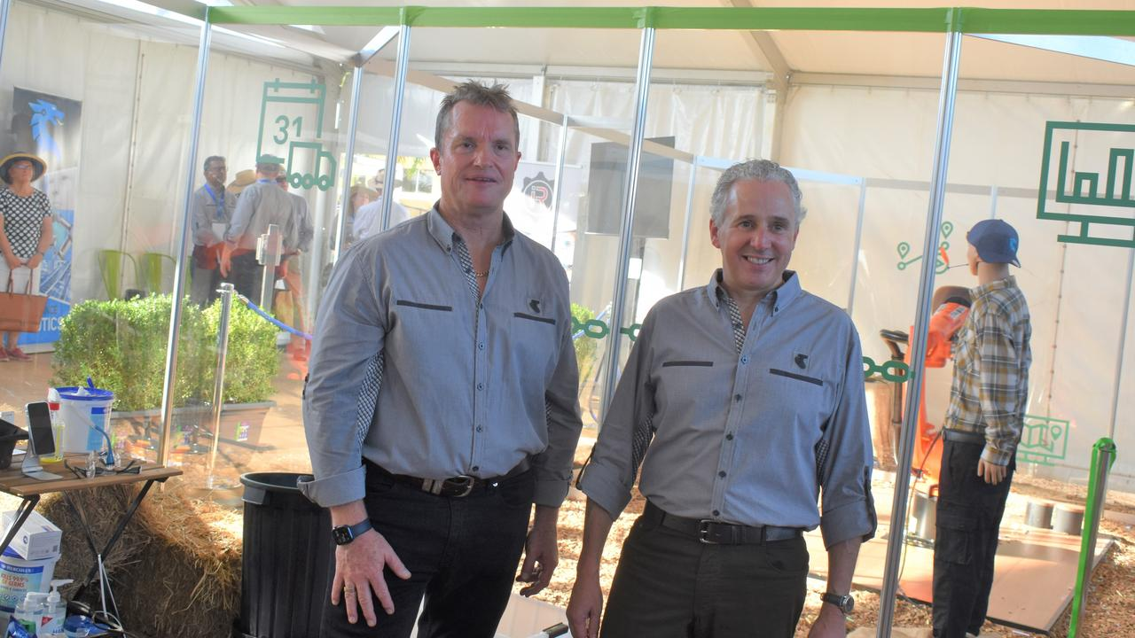 Telstra CEO Andy Penn and Networks Executive Channa Seneviratne at Beef Australia