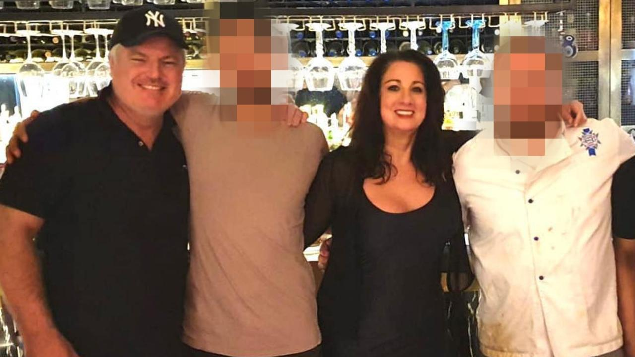 Stuart MacGill (far left) and his latest partner Maria O'Meagher (third from left), owner of Aristotle's Greek restaurant where the former cricketer worked. Picture: Supplied.