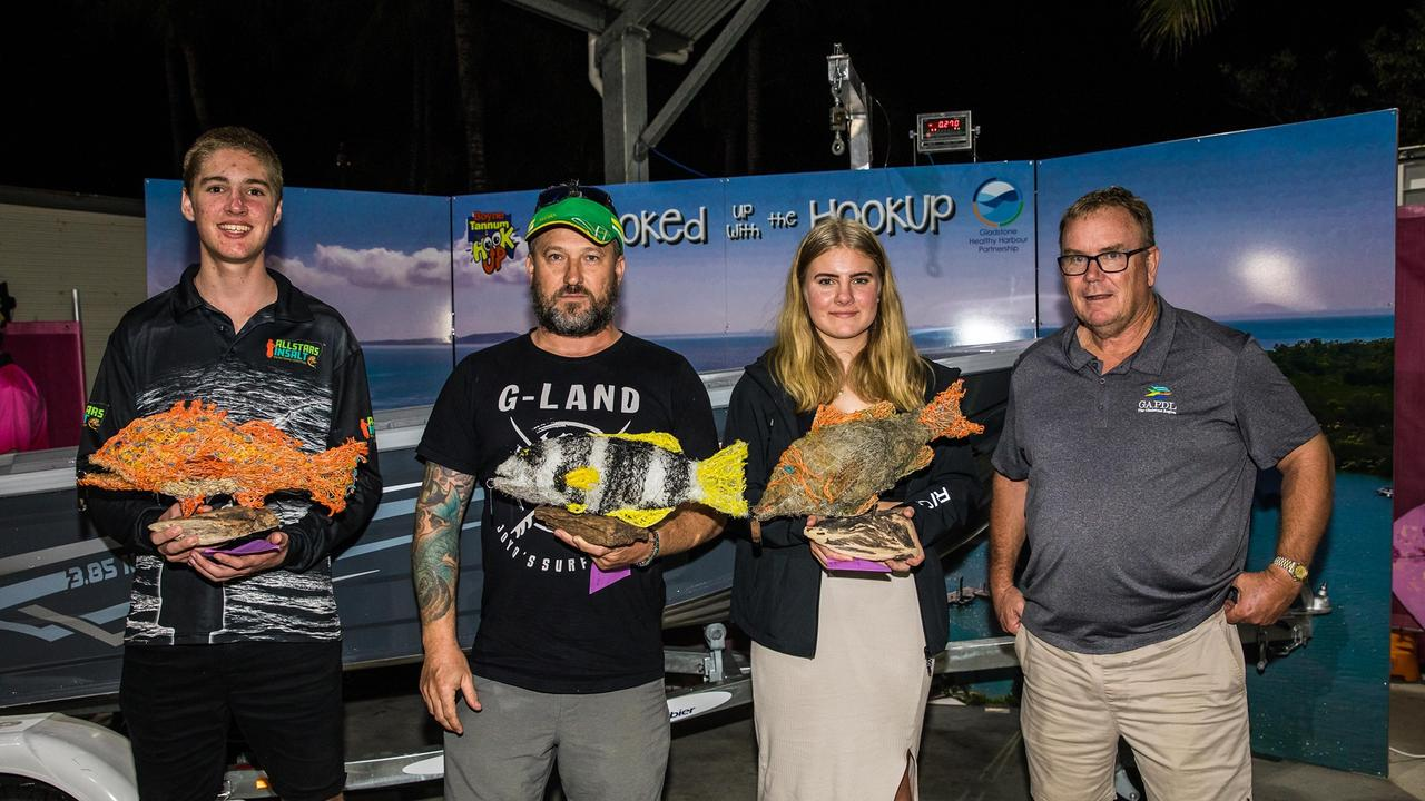 Boyne Tannum Hookup category winners. Junior Angler, Harrison McGuire, Senior Angler, Jaison Guljas and Female winner Graci Dean with GADPL CEO Gus Stedman.