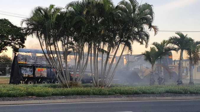 Dramatic scenes as semi-trailer bursts into flames