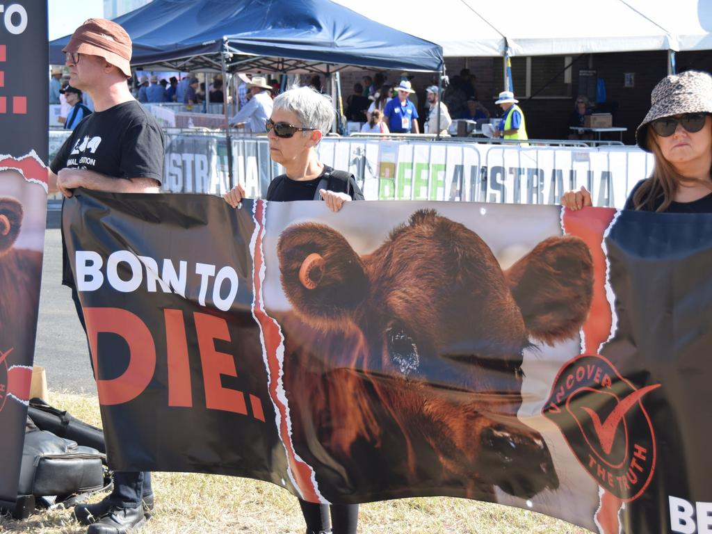 BEEF AUSTRALIA 21: Protesters gather outside the Rockhampton showgrounds during Beef Australia
