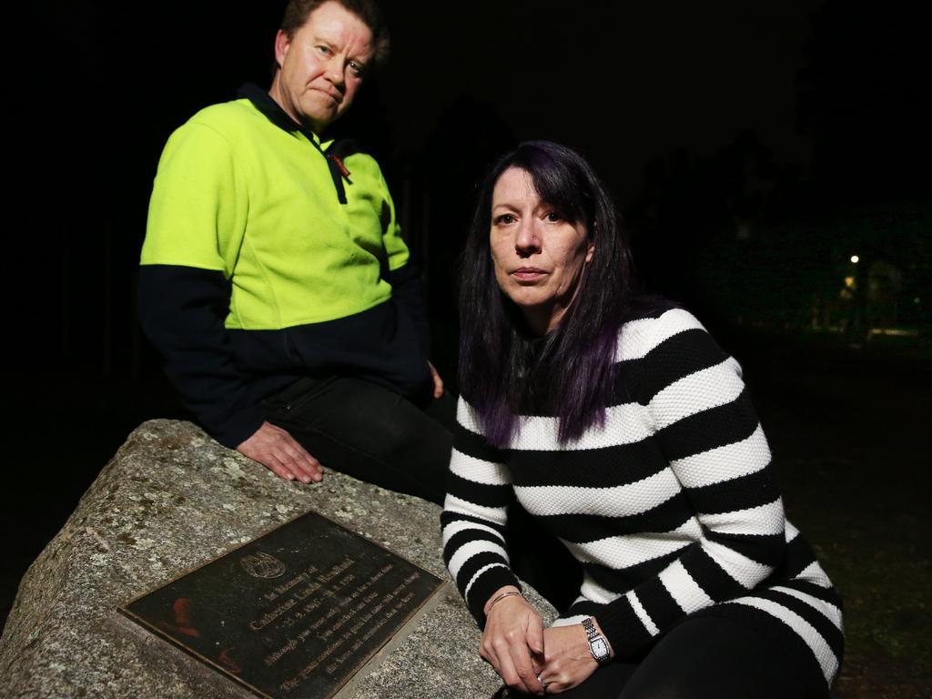 Cheryl Goldsworthy visits her best friend Catherine Linda Headland's plaque in Berwick with Catherine's boyfriend John McManus.