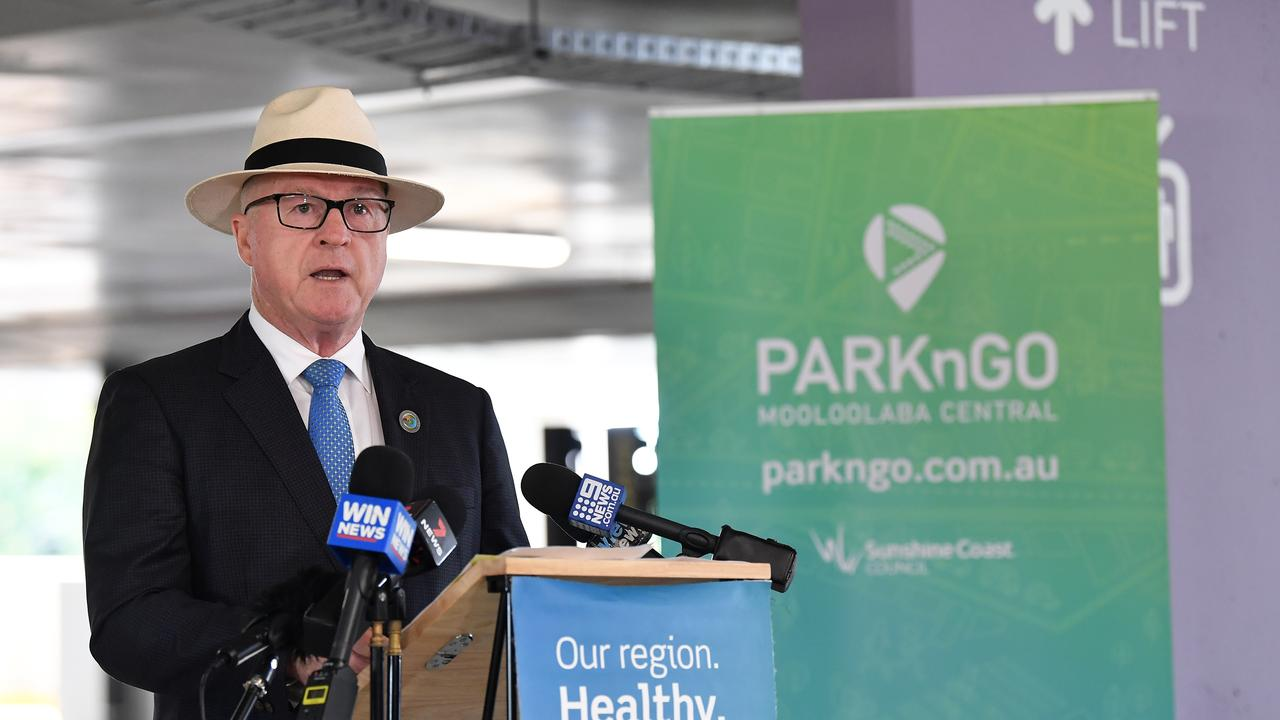Mayor Mark Jamieson at the official opening of the Park 'n' Go paid parking facility at Mooloolaba in December, 2020. Picture: Patrick Woods